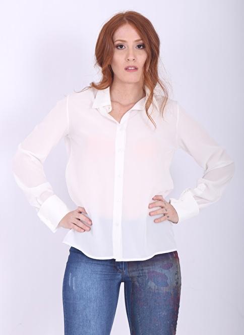 Soie Design Şifon Gömlek Beyaz